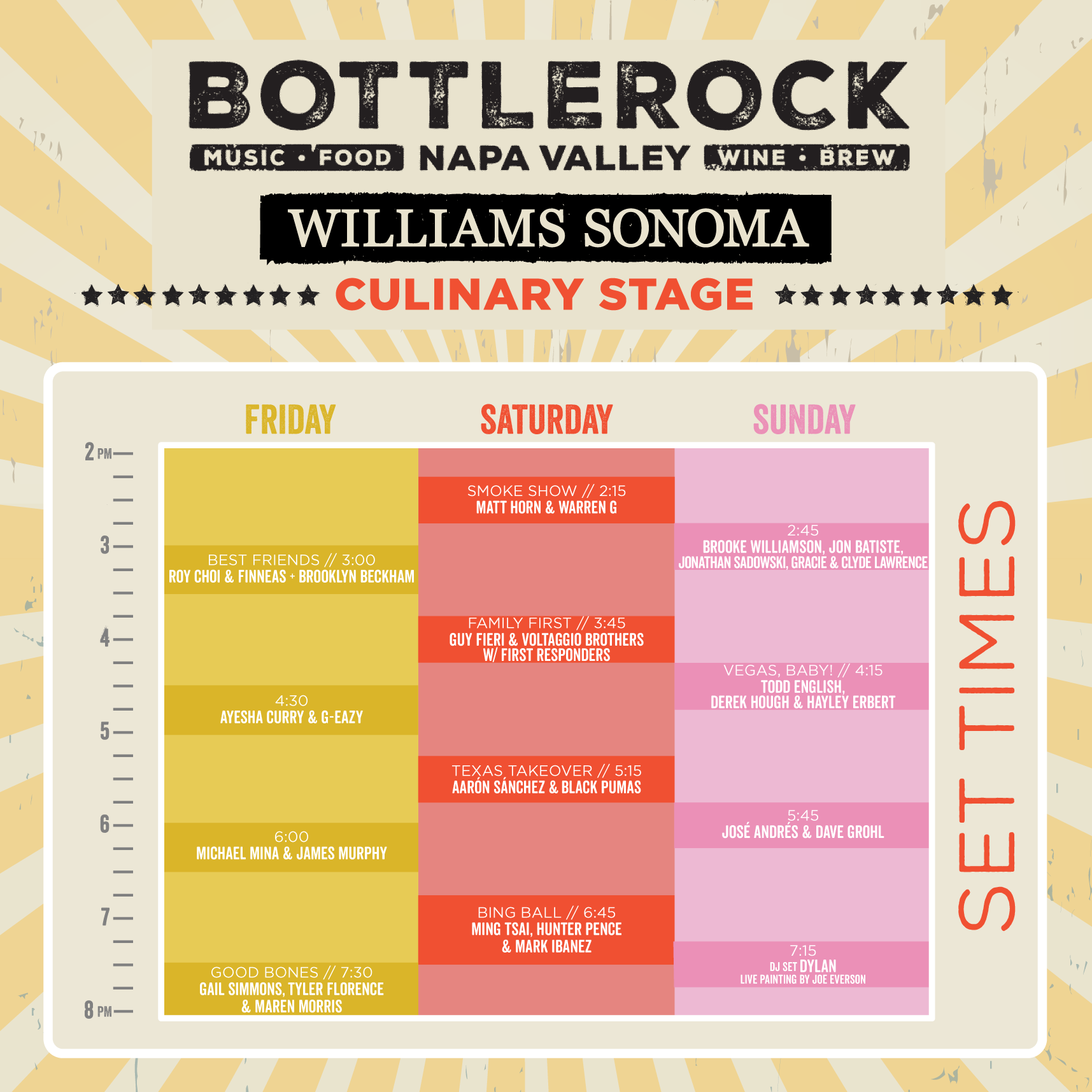 Bottlerock Culinary Stage lineup.